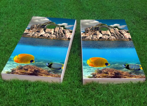 Tropical Coral Reef Cornhole Game (Set of 2) by Custom Cornhole Boards
