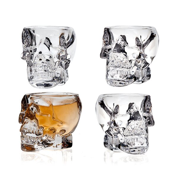 Skull 3 oz. Short Glass (Set of 4) by The Holiday Aisle