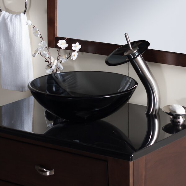 Nera Glass Circular Vessel Bathroom Sink with Faucet by Novatto