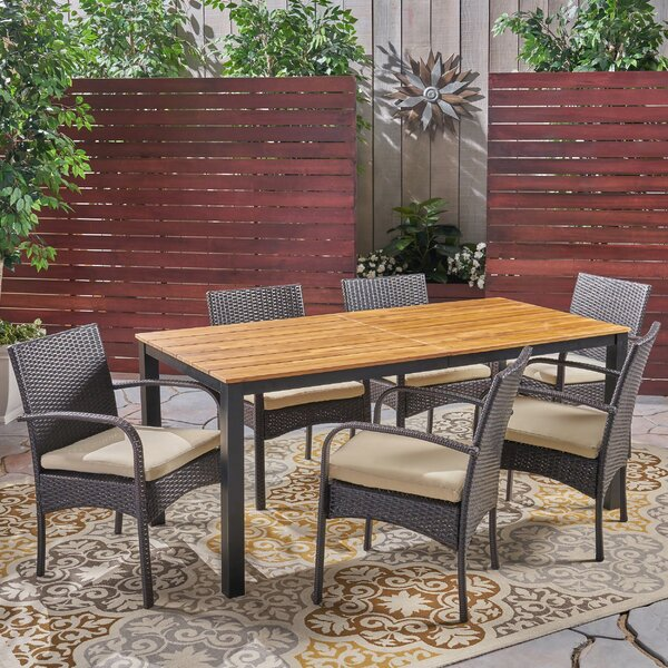 Hallsburg 7 Piece Teak Dining Set with Cushions by Ebern Designs