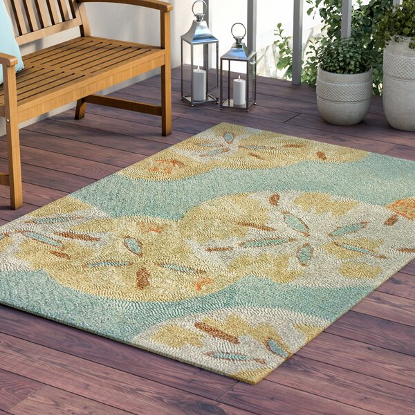 Coeymans Sand Dollars by the Sea Blue/Gold Indoor/Outdoor Area Rug by Highland Dunes