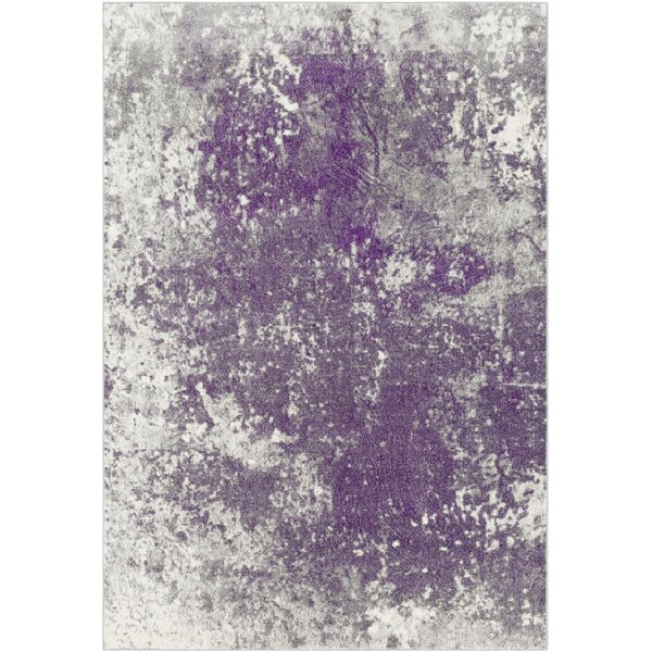 Candelaria Abstract Medium Gray/Dark Purple Area Rug by Williston Forge