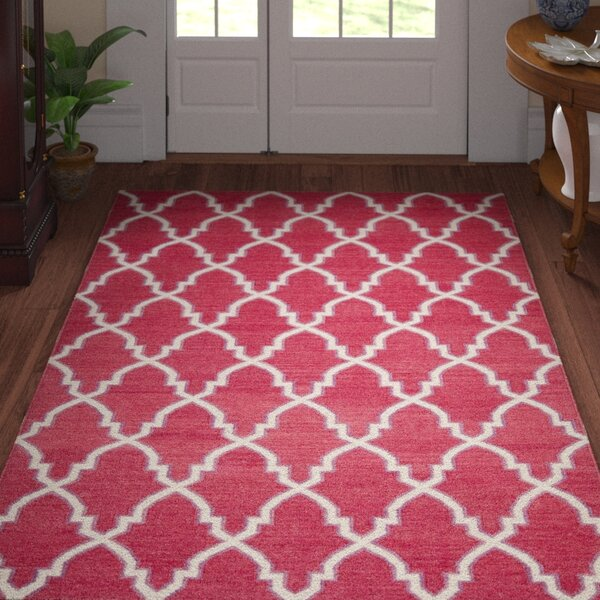 Danbury Hand-Woven Wool Red/Ivory Area Rug by Three Posts