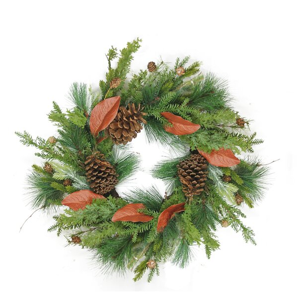 26 Mixed Pine with Red Leaves and Pine Cones Artificial Christmas Wreath by Northlight Seasonal
