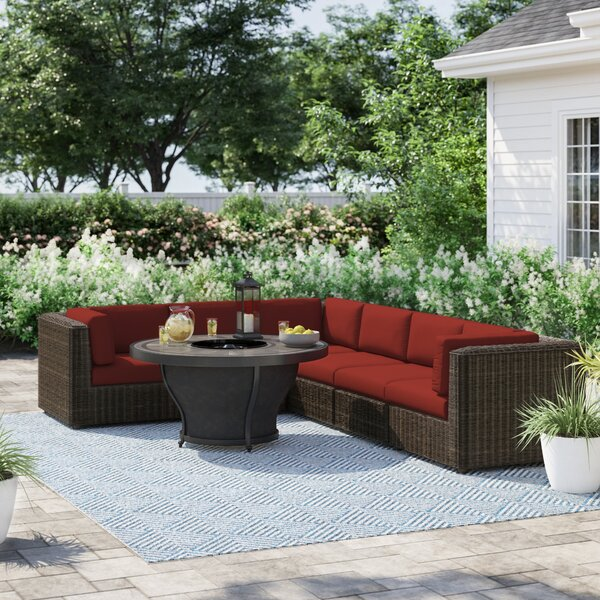 Fairfield 7 Piece Rattan Sectional Seating Group with Cushions by Sol 72 Outdoor Sol 72 Outdoor