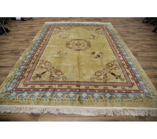 Wobnar Art Deco Chinese Traditional Oriental Hand-Knotted Wool Brown/Green Area Rug by Bloomsbury Market