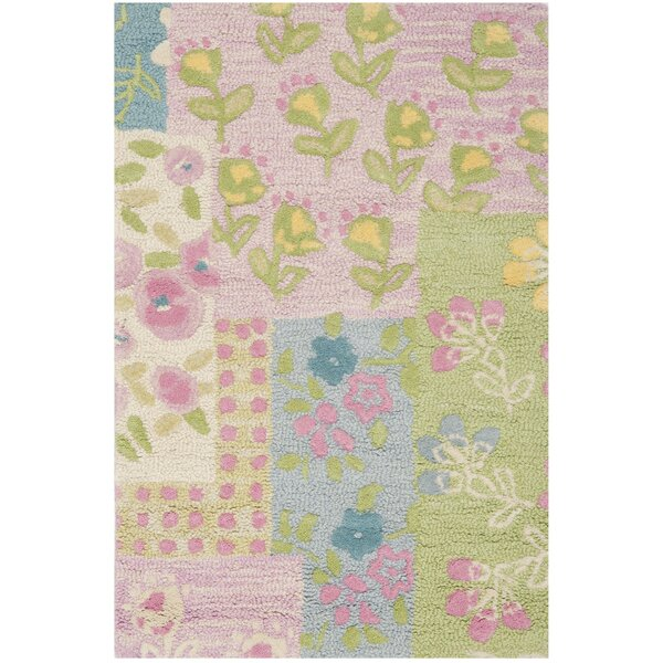 Kids Hand-Tufted Pink/Green Area Rug by Safavieh