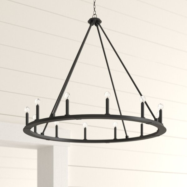 Shayla 12 - Light Candle Style Wagon Wheel Chandelier By Laurel Foundry Modern Farmhouse