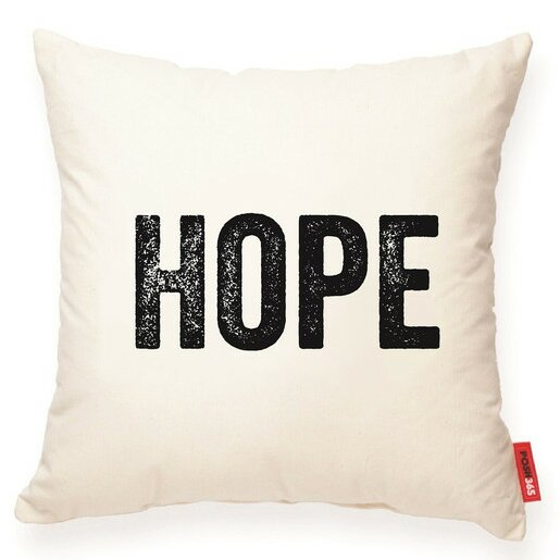 Expressive Hope Decorative Cotton Throw Pillow by Posh365