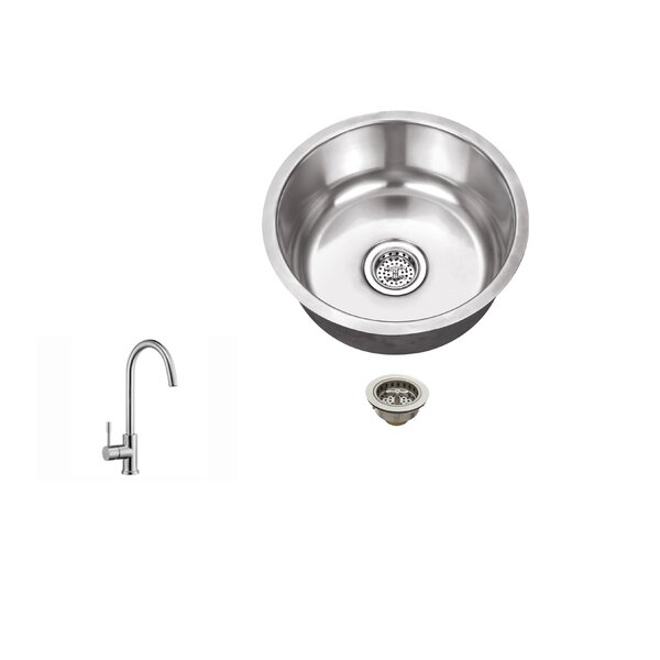 17.13 L X 17.13 W Undermount Bar Sink with Faucet by Soleil