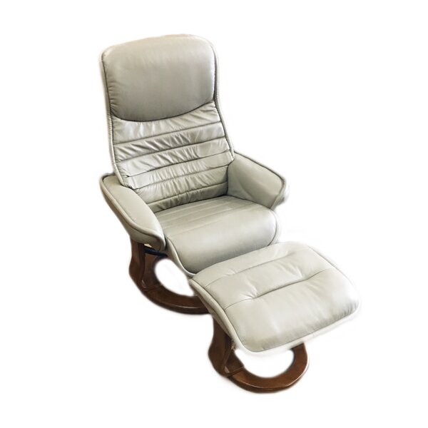 Veo Leather Manual Swivel Recliner with Ottoman by World Source Design