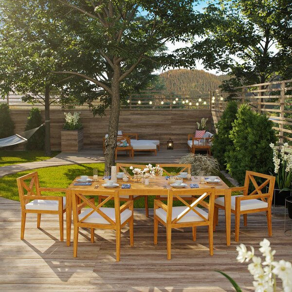 Dowell Outdoor Patio 7 Piece Teak Dining Set with Cushions by Breakwater Bay