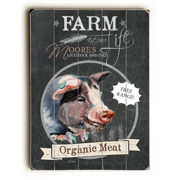 Farm Organic Meat Wooden Textual Art by August Grove