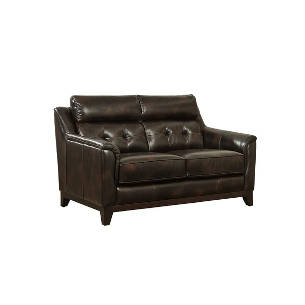 Issleib Leather Loveseat by Darby Home Co