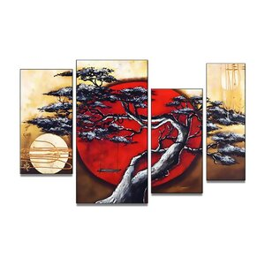'Japanese Tree' 4 Piece Painting on Canvas Set by Bloomsbury Market