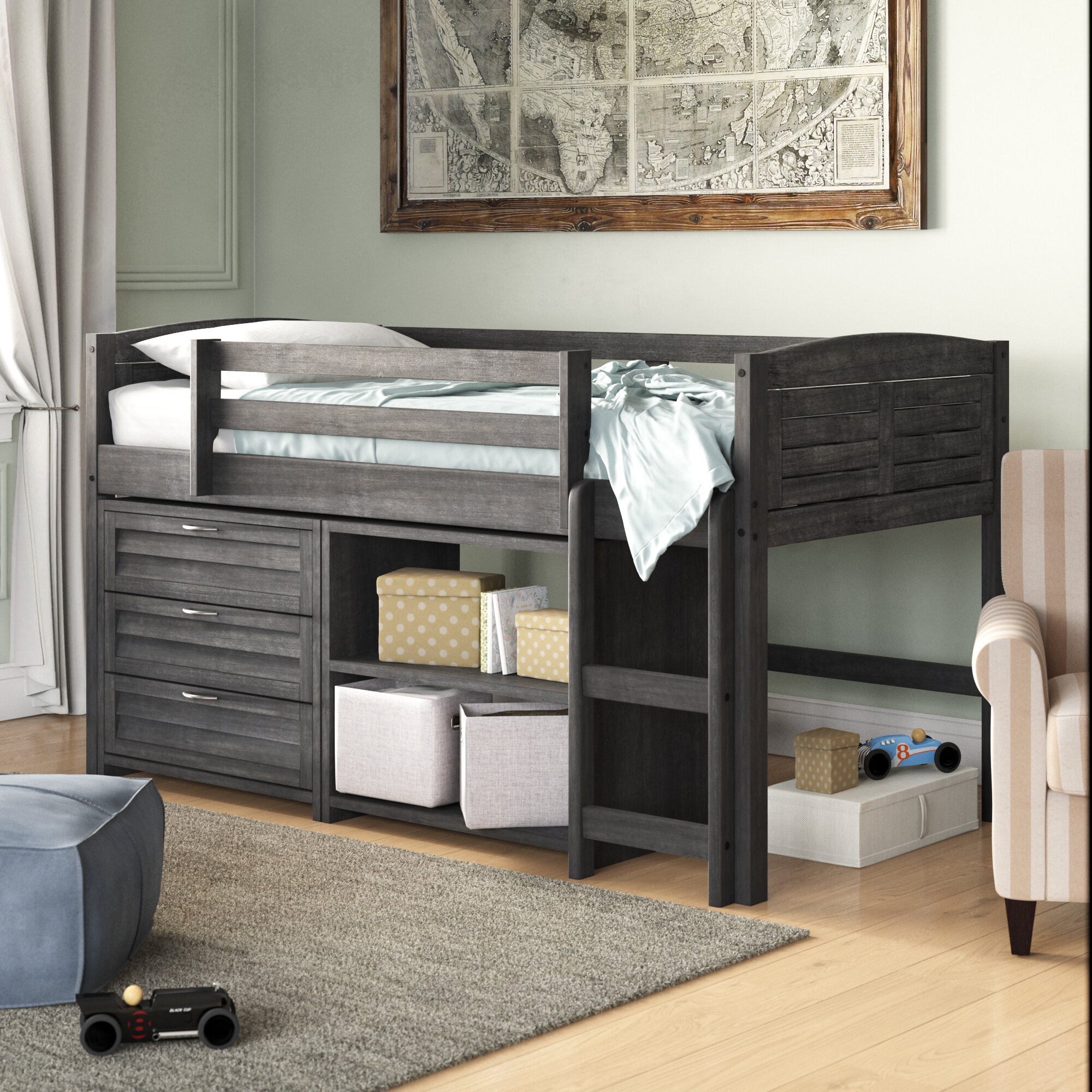 the best attitude 8ca4e b7a2b Evan Twin Low Loft Bed with Storage