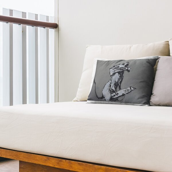 Rat with Box Cutter Indoor / Outdoor 14 Lumbar Pillow