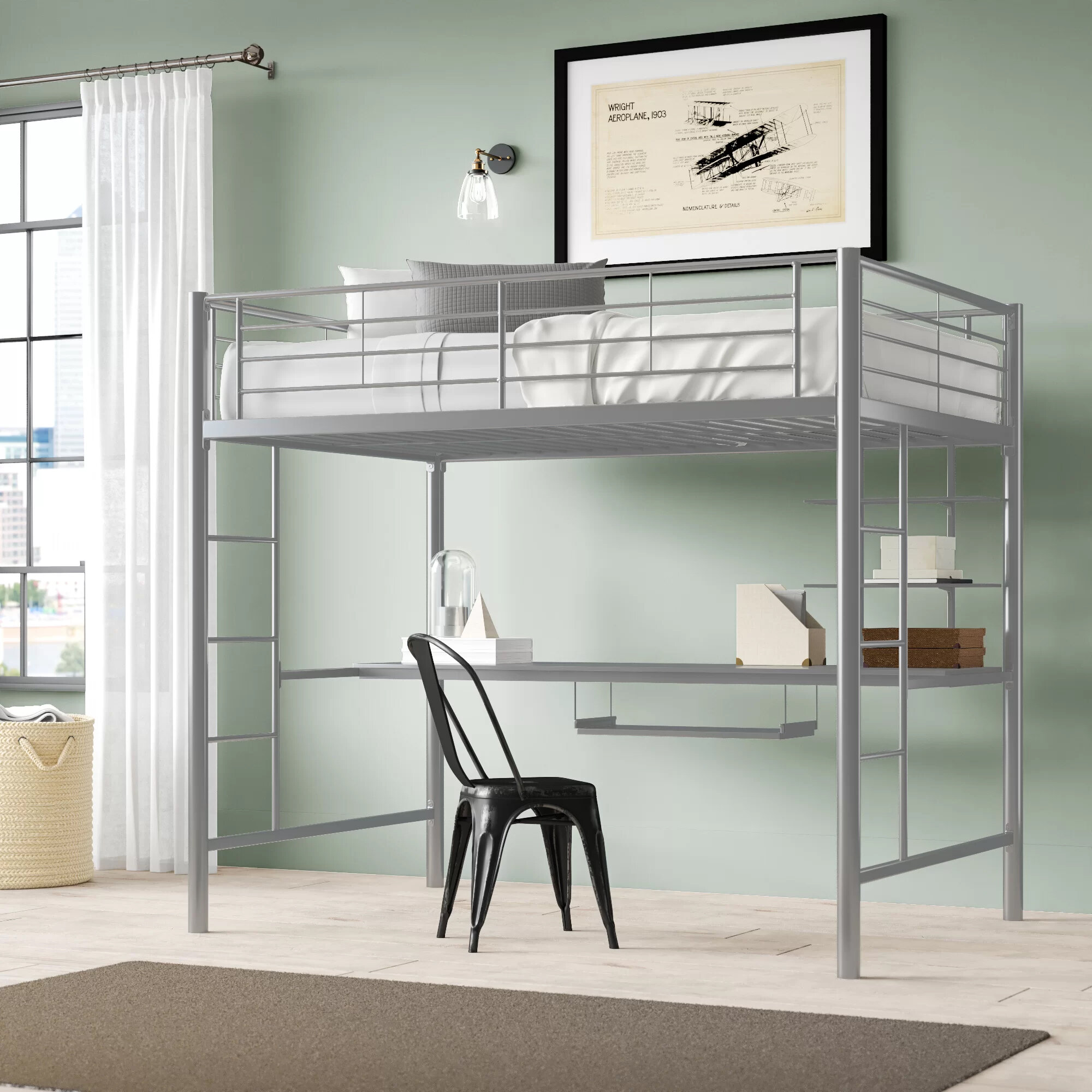 Picture of: Viv Rae Maurice Full Loft Bed With Desk And Bookcase Reviews