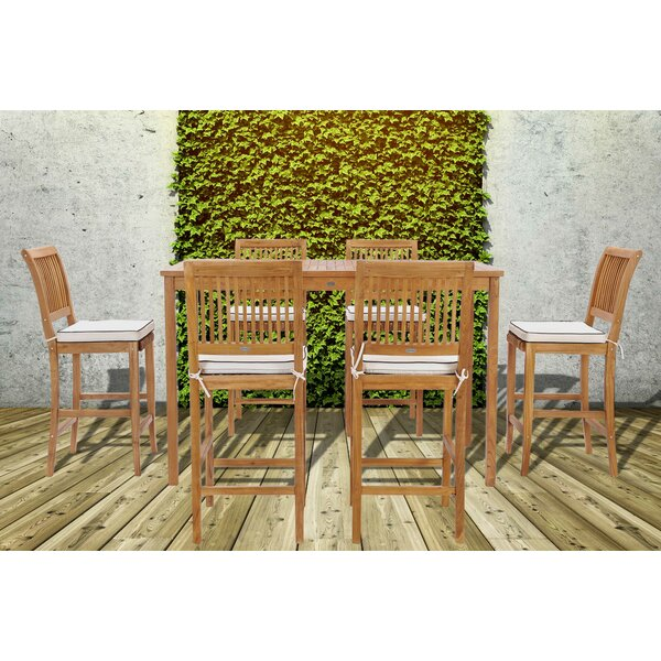 Dayne 7 Piece Teak Bar Height Dining Set with Cushions
