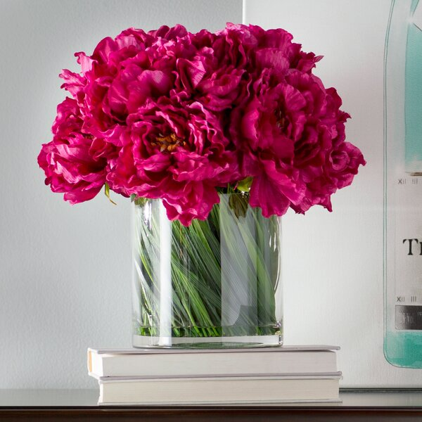 Magenta Peony Bouquet in Acrylic Water Glass Vase by Willa Arlo Interiors