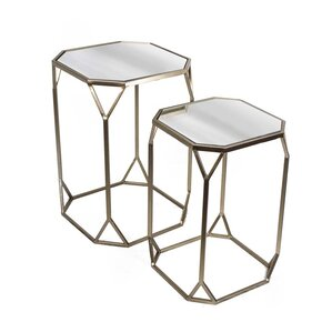 2 Piece Metal U0026 Mirror End Table Set