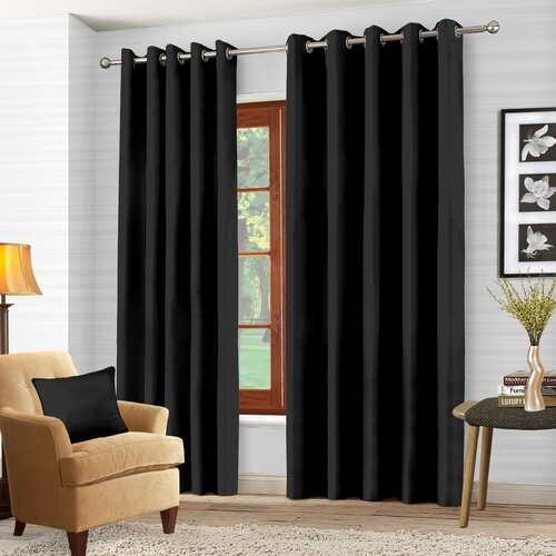 Essie Eyelet Blackout Thermal Curtains Zipcode Design Colour: Black, Panel Size: Width 85cm x Drop 183cm