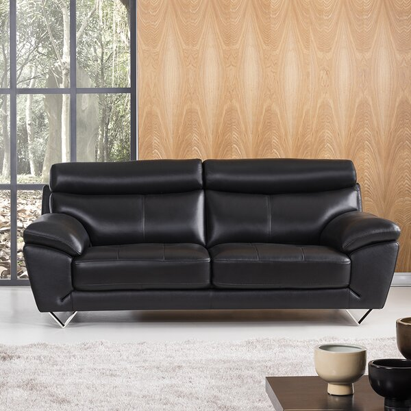 Best Bargain Holborn Leather Sofa by Orren Ellis by Orren Ellis