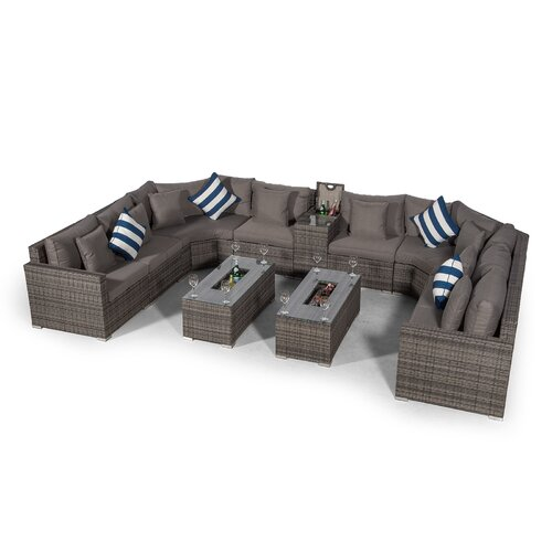 Villasenor Grey Rattan 8 Seat Sofa With 2 X Rectangle Ice Bucket Coffee Table and Drinks Cooler, Outdoor Patio Garden Furniture Sol 72 Outdoor