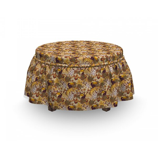 Tiger Tropical Bengal Toucan 2 Piece Box Cushion Ottoman Slipcover Set By East Urban Home