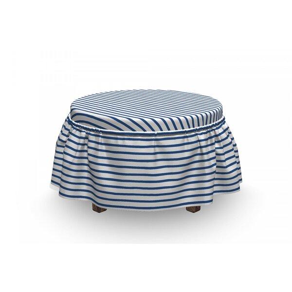 Harbour Stripe Hand Drawn Sea 2 Piece Box Cushion Ottoman Slipcover Set By East Urban Home