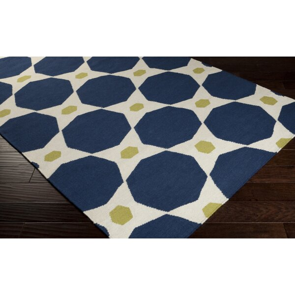 Donley Blue Midnight Geometric Area Rug by Wrought Studio