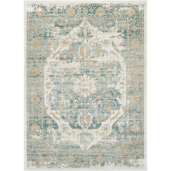 Aya Distressed Medallion Blue/Beige Area Rug by Bungalow Rose
