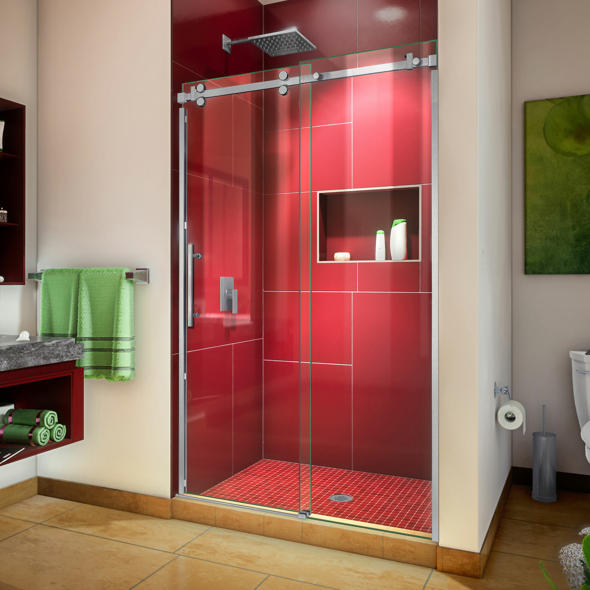 Enigma Sky 48 X 76 Sliding Frameless Shower Door With Clear Max Technology