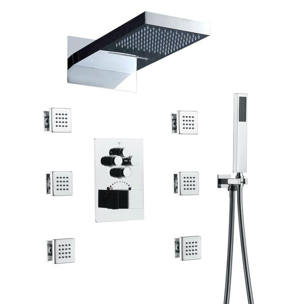 Thermostatic Complete Shower System With Rough-In Valve By Wonderland America