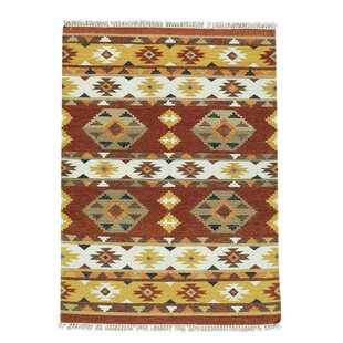 Louden Anatolian Kilim Flat Weave Hand-Knotted Chocolate Brown/Taupe/Burnt Orange Area Rug by Bloomsbury Market