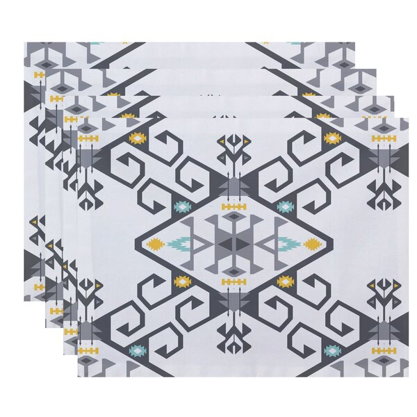 Meetinghouse Jodhpur Medallion 2 Geometric Print Placemat (Set of 4) by Bungalow Rose