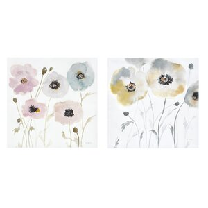 Pastel Garden Painting Print 2 Piece on Wrapped Canvas by House of Hampton