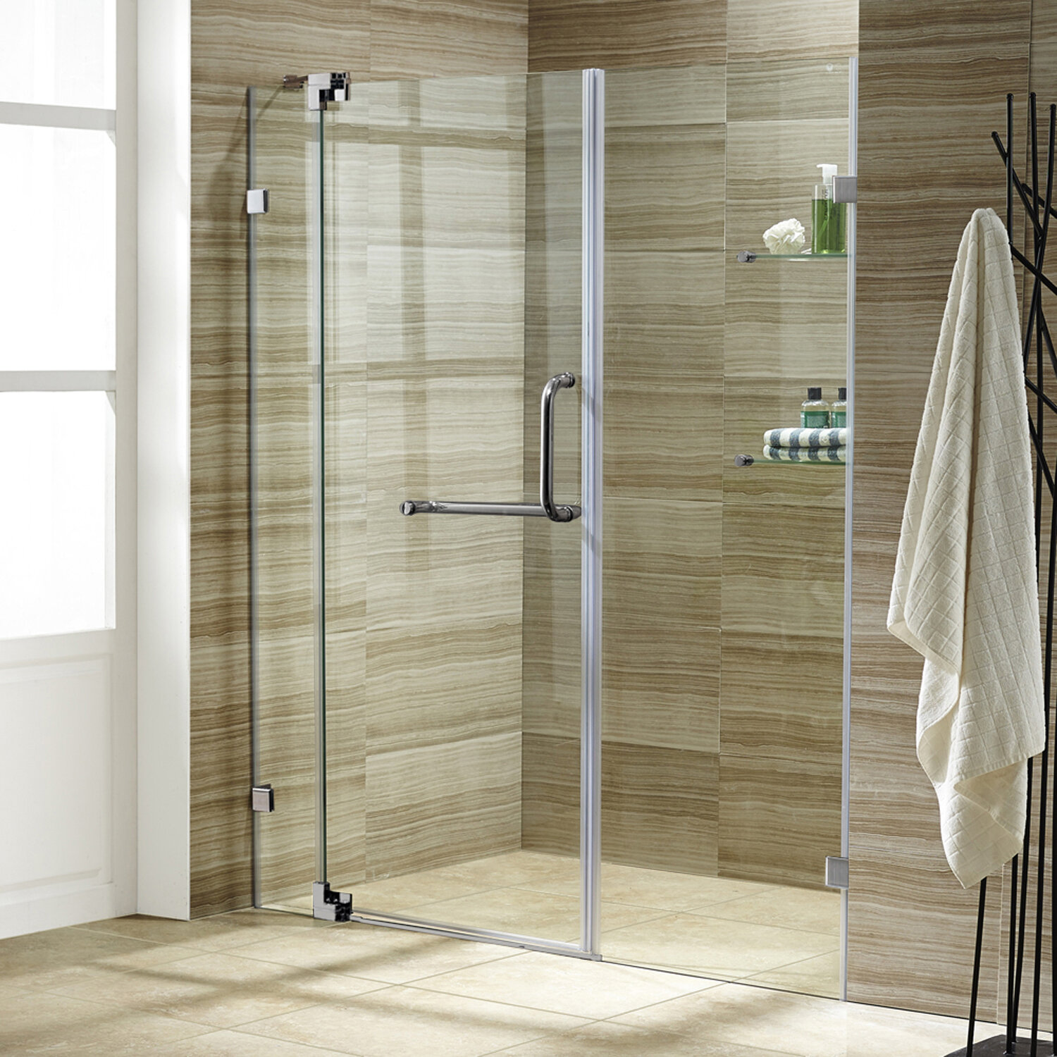 Vigo Pirouette 66 X 72 Pivot Frameless Shower Door Reviews Wayfair