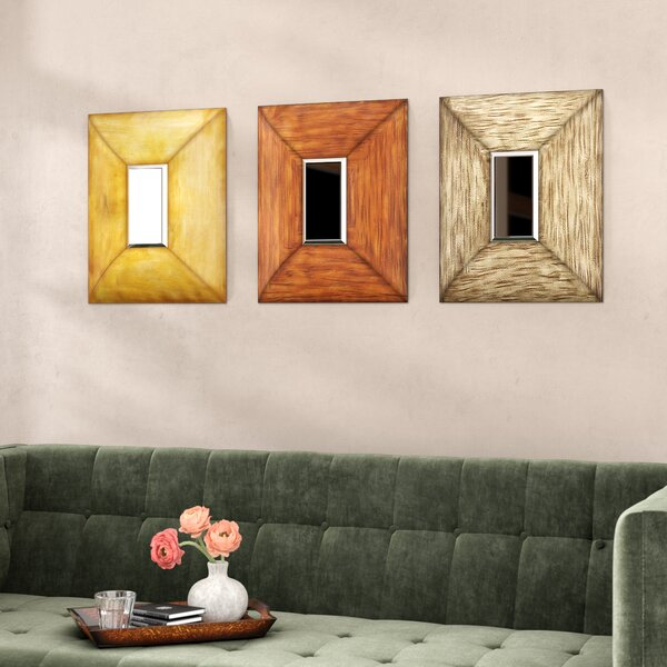 Square Metal Wall Mirror (Set of 3) by World Menagerie