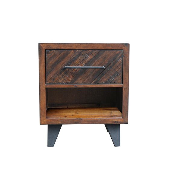 Fiskeville Acacia 1 Drawer Nightstand by Union Rustic