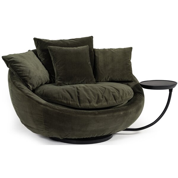 Joleen Modern Round Velvet Swivel Lounge Chair
