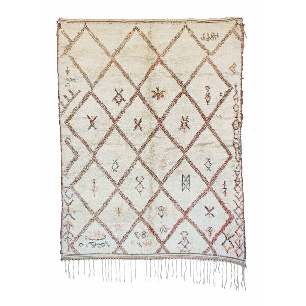 Beni Ourain Vintage Moroccan Hand Knotted Wool Cream Area Rug by Indigo&Lavender