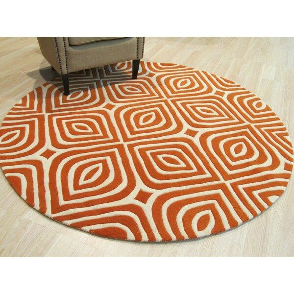 Corrigan Hand-Tufted Wool Orange Area Rug by Corri