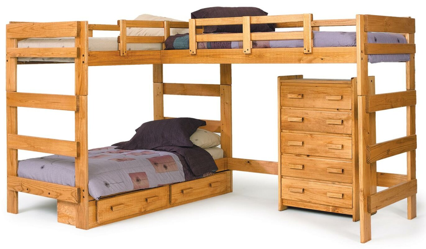 Chelsea Home Twin L Shaped Bunk Bed Customizable Bedroom Set
