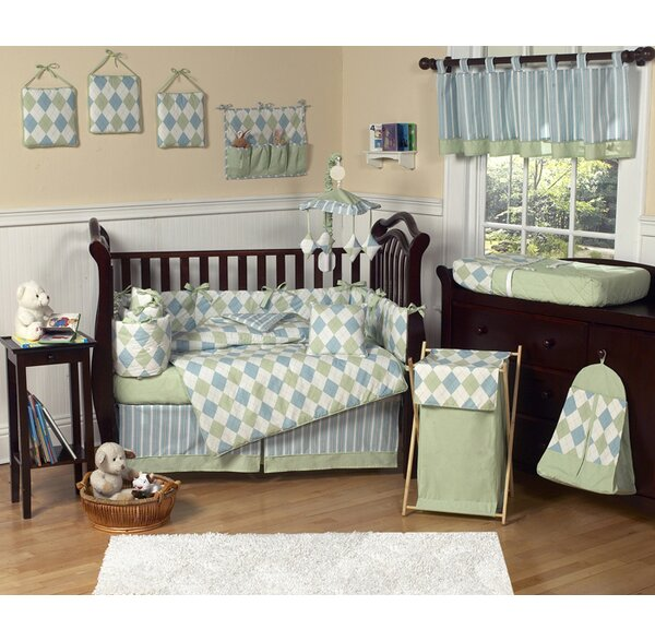 Argyle Blue 9 Piece Crib Bedding Set by Sweet Jojo Designs
