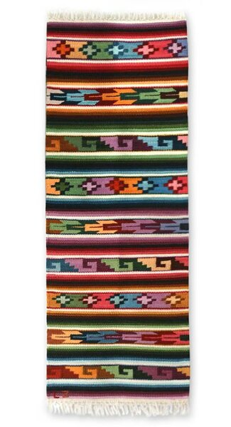 Zosimo Laura Andean Hand-Loomed Orange/Green Area Rug by Novica