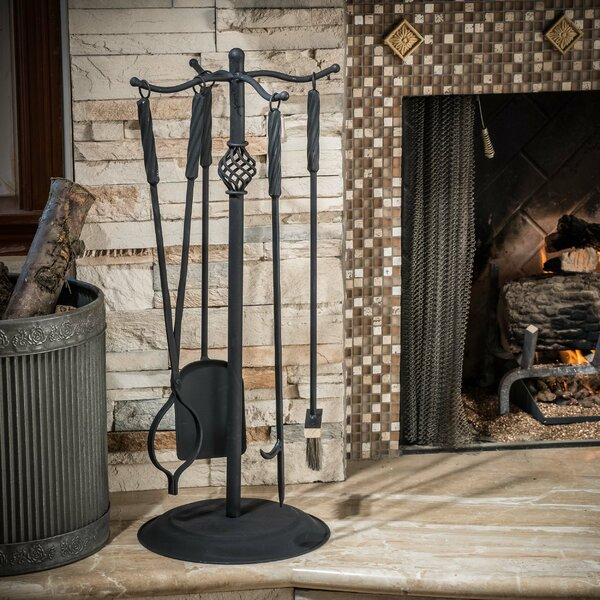 Carlotta 5 Piece Iron Fireplace Tool Set by Home Loft Concepts