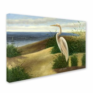 One Heron at the Beach by Victor Giton Painting Print on Canvas by Trademark Fine Art