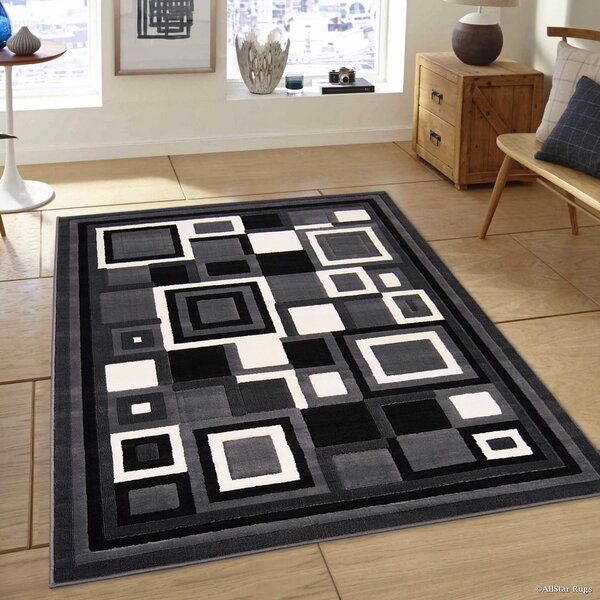 Hand-Woven Gray/Black Area Rug by AllStar Rugs