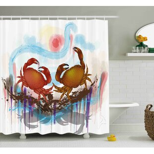 Shopping for Buffalo Sea Animals Theme Two Crabs Dancing on Abstract Grunge Background Print Shower Curtain ByHighland Dunes
